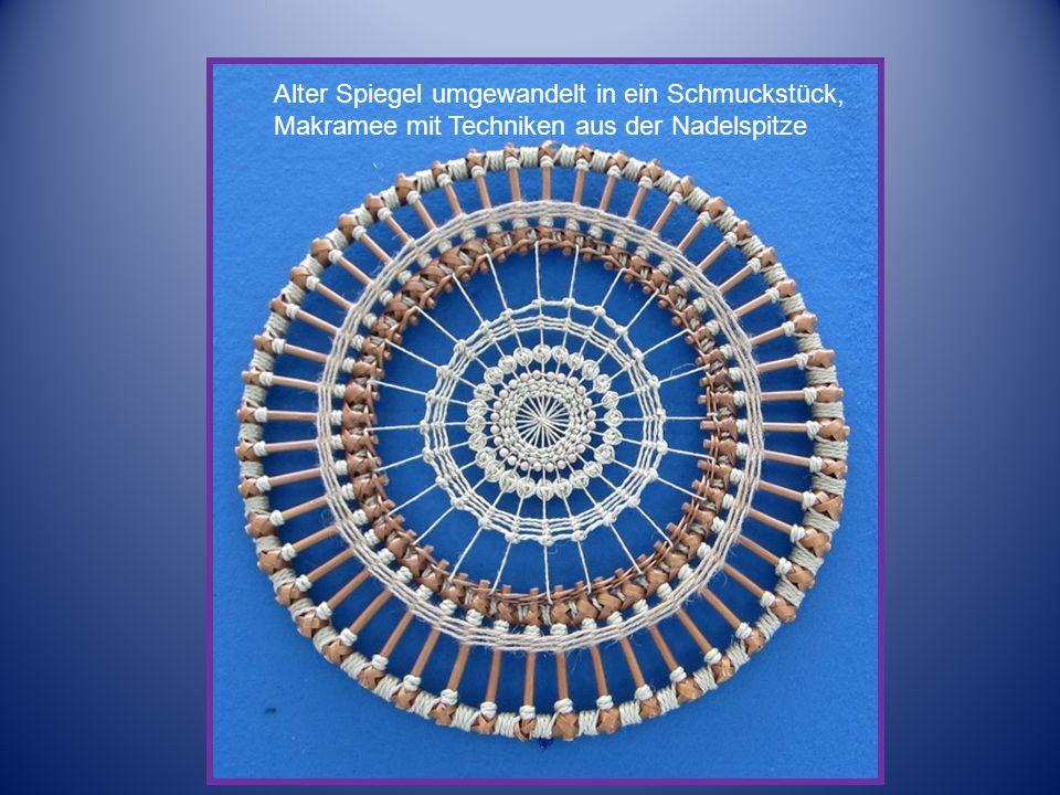 Alte Radfelge – umgewandelt in ein Schmuckstück in Makramee, verbunden mit Techniken aus dem Hohlsaum.