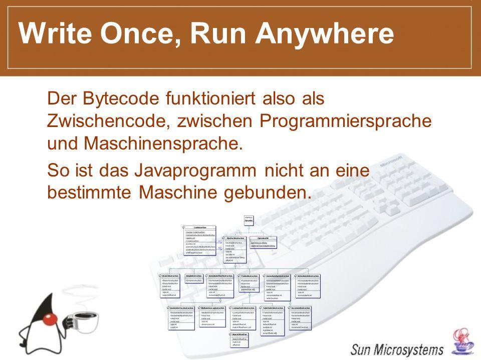 Write Once, Run Anywhere Der Bytecode funktioniert also als Zwischencode, zwischen Programmiersprache und Maschinensprache.