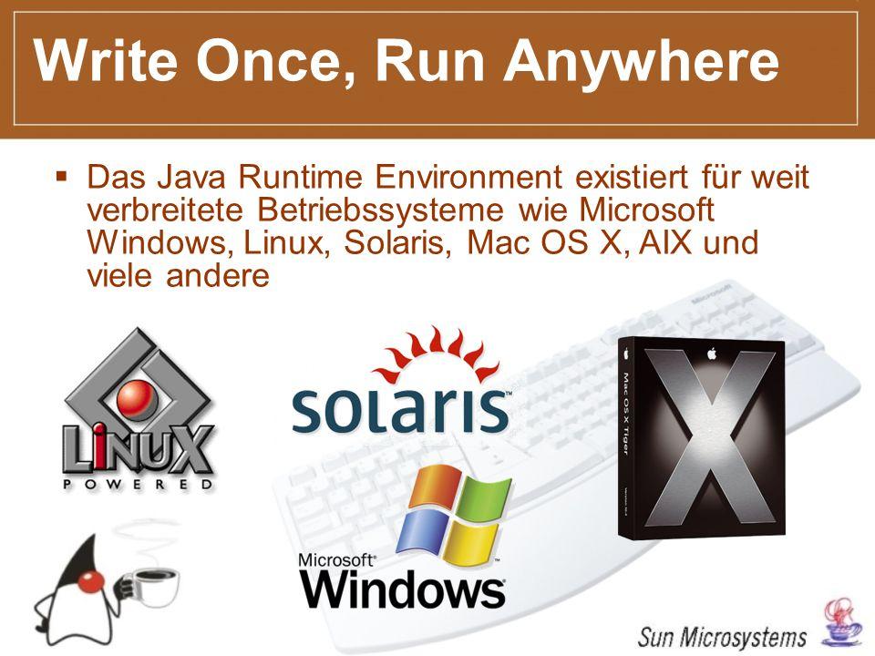 Write Once, Run Anywhere Das Java Runtime Environment existiert für weit verbreitete Betriebssysteme wie Microsoft Windows, Linux, Solaris, Mac OS X, AIX und viele andere