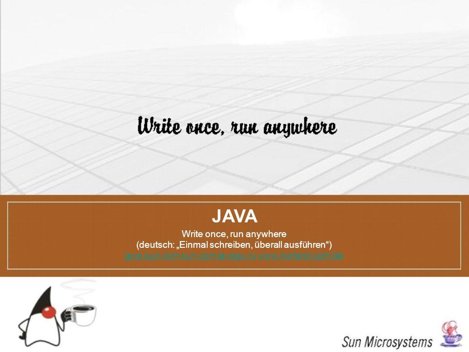 JAVA Write once, run anywhere (deutsch: Einmal schreiben, überall ausführen) java.sun.comjava.sun.com sun.com javagu.ru www.borland.com/desun.comjavag