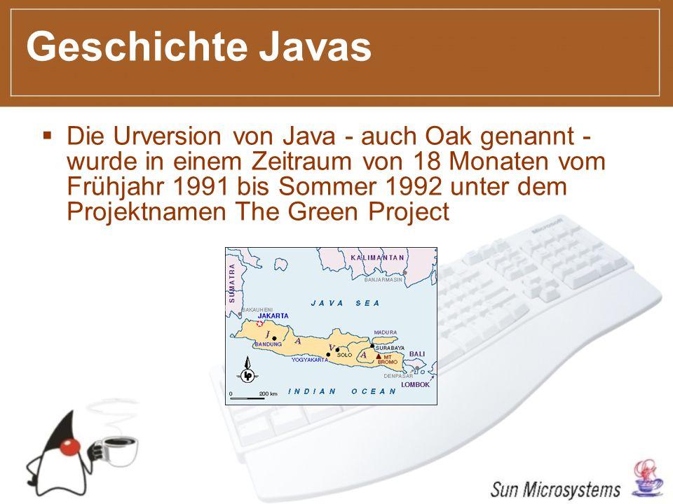 Geschichte Javas Die Urversion von Java - auch Oak genannt - wurde in einem Zeitraum von 18 Monaten vom Frühjahr 1991 bis Sommer 1992 unter dem Projektnamen The Green Project