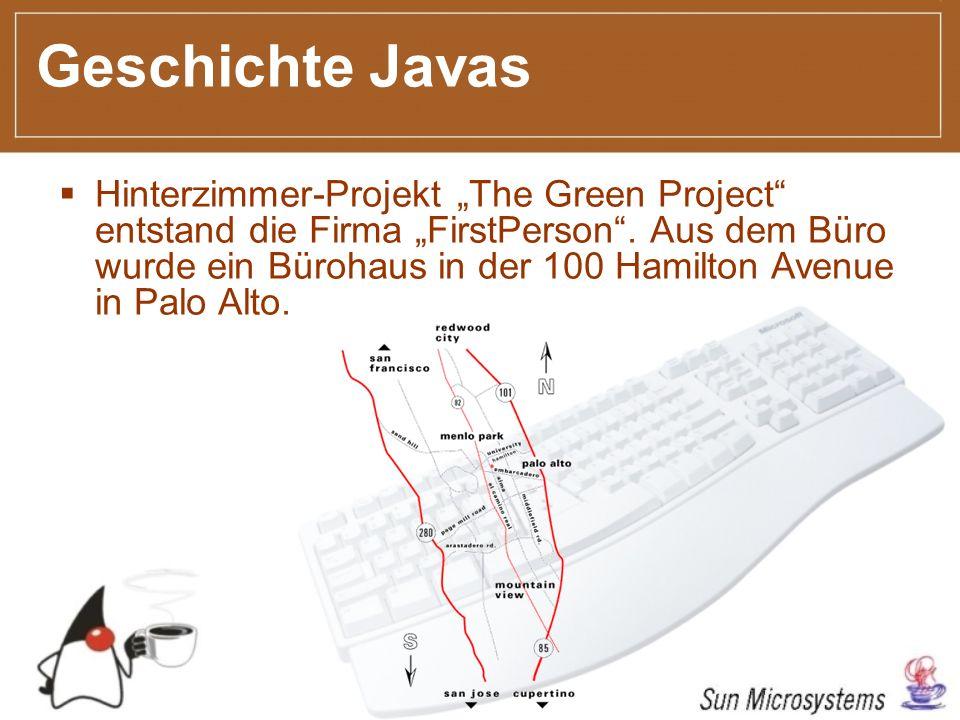 Geschichte Javas Hinterzimmer-Projekt The Green Project entstand die Firma FirstPerson.