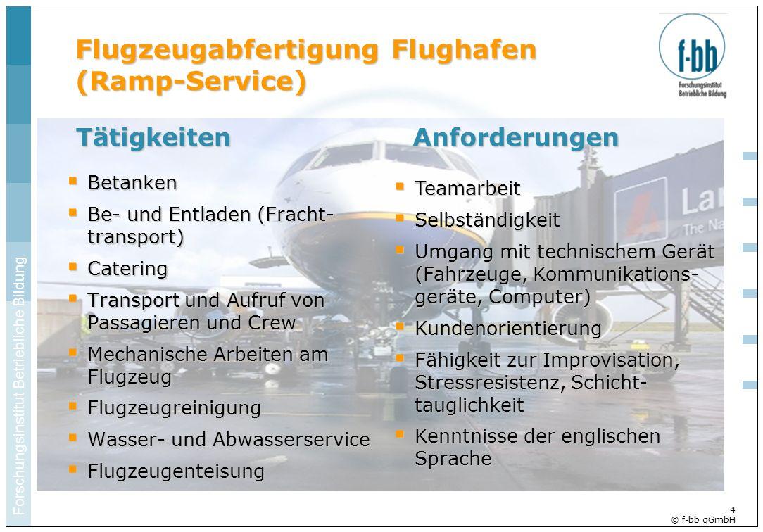 Forschungsinstitut Betriebliche Bildung 4 © f-bb gGmbH Flugzeugabfertigung Flughafen (Ramp-Service) Betanken Betanken Be- und Entladen (Fracht- transp
