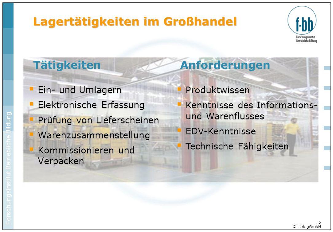 Forschungsinstitut Betriebliche Bildung 5 © f-bb gGmbH Lagertätigkeiten im Großhandel Ein- und Umlagern Ein- und Umlagern Elektronische Erfassung Elek