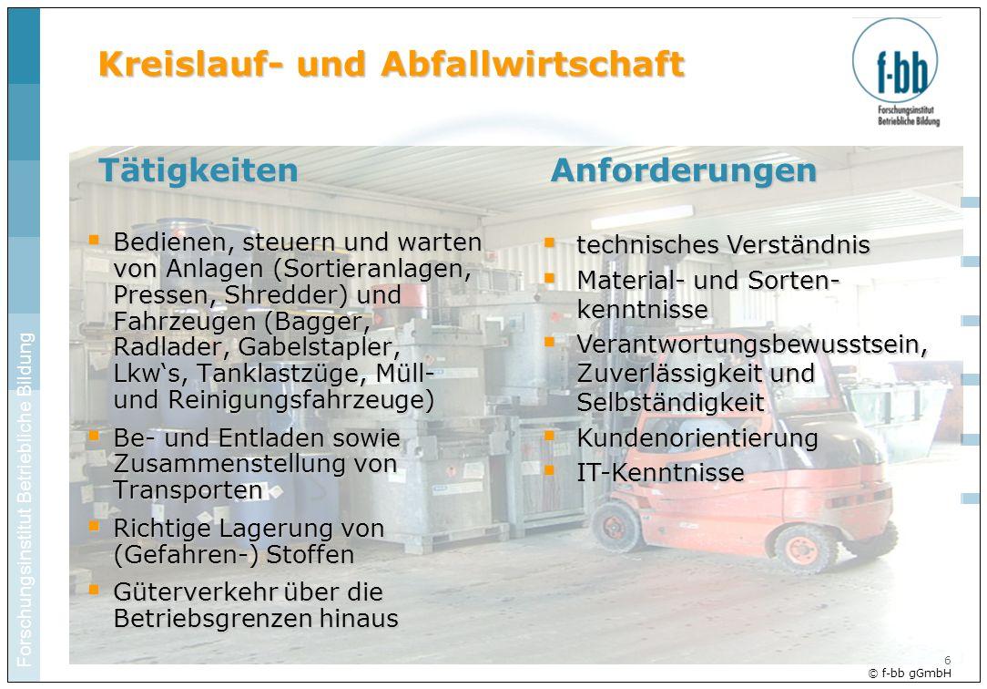 Forschungsinstitut Betriebliche Bildung 6 © f-bb gGmbH Kreislauf- und Abfallwirtschaft Bedienen, steuern und warten von Anlagen (Sortieranlagen, Press