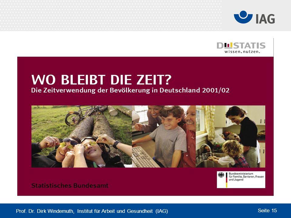 Prof. Dr. Dirk Windemuth, Institut für Arbeit und Gesundheit (IAG) Seite 15