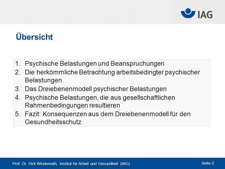 Prof. Dr. Dirk Windemuth, Institut für Arbeit und Gesundheit (IAG) Seite 2 1.Psychische Belastungen und Beanspruchungen 2. Die herkömmliche Betrachtun