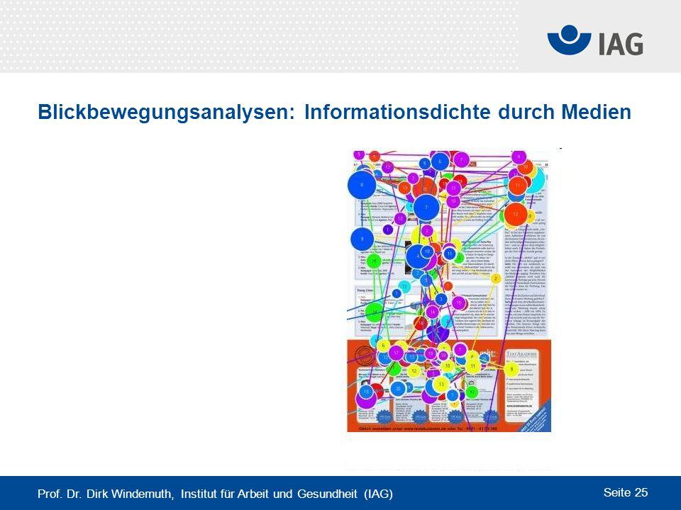 Prof. Dr. Dirk Windemuth, Institut für Arbeit und Gesundheit (IAG) Seite 25 Blickbewegungsanalysen: Informationsdichte durch Medien