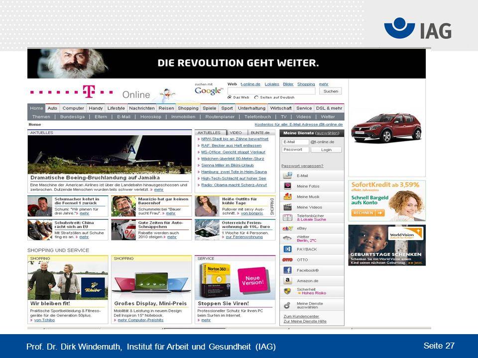 Prof. Dr. Dirk Windemuth, Institut für Arbeit und Gesundheit (IAG) Seite 27 www.t-online.de