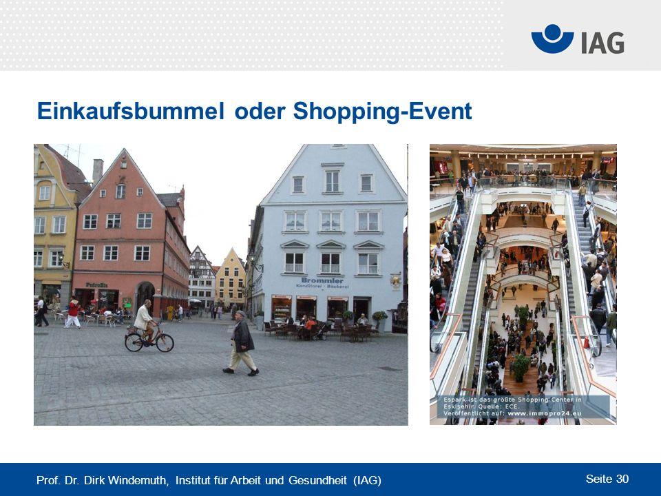 Prof. Dr. Dirk Windemuth, Institut für Arbeit und Gesundheit (IAG) Seite 30 Einkaufsbummel oder Shopping-Event