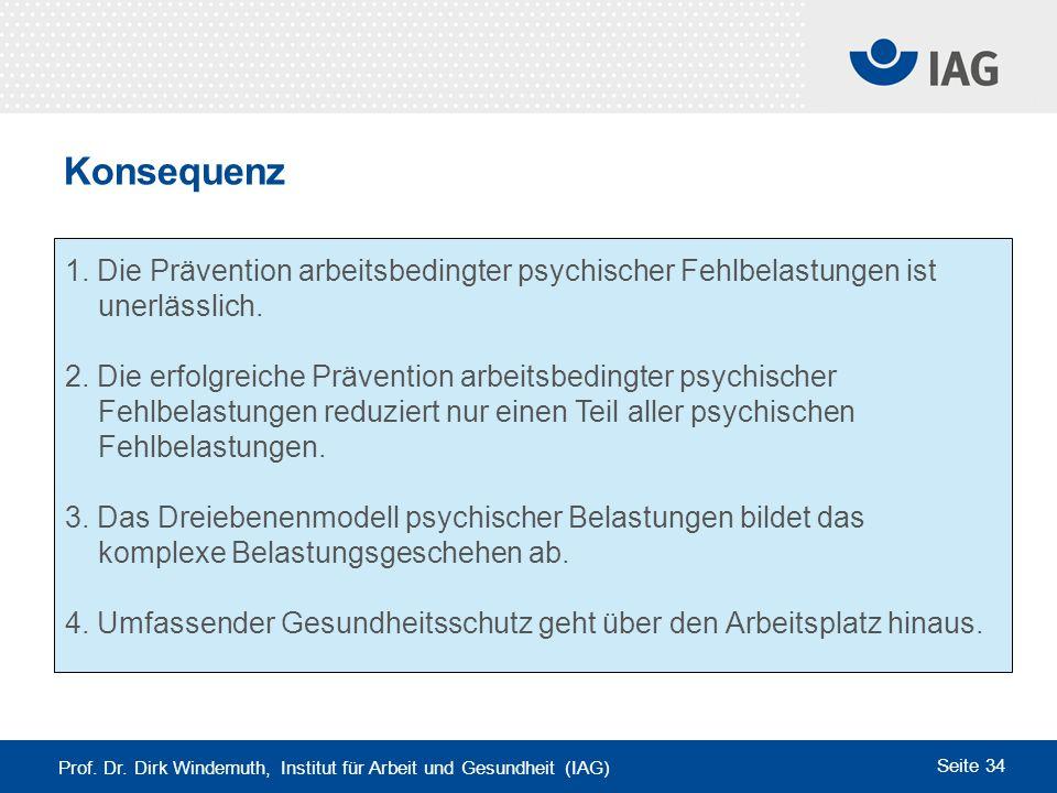 Prof. Dr. Dirk Windemuth, Institut für Arbeit und Gesundheit (IAG) Seite 34 Konsequenz 1. Die Prävention arbeitsbedingter psychischer Fehlbelastungen