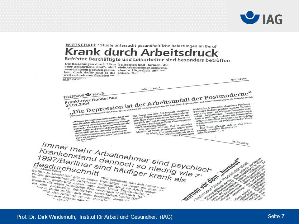 Prof. Dr. Dirk Windemuth, Institut für Arbeit und Gesundheit (IAG) Seite 7