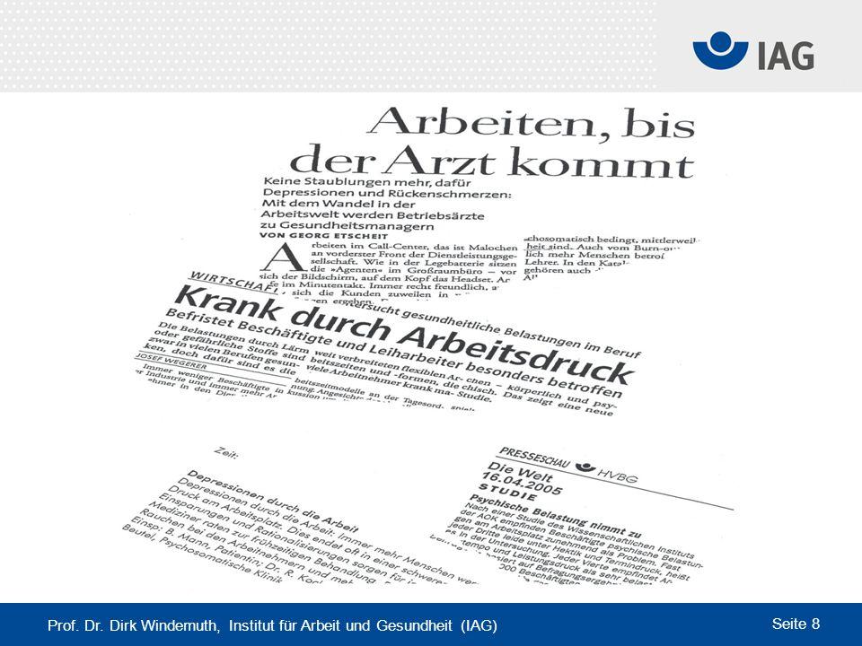 Prof. Dr. Dirk Windemuth, Institut für Arbeit und Gesundheit (IAG) Seite 8