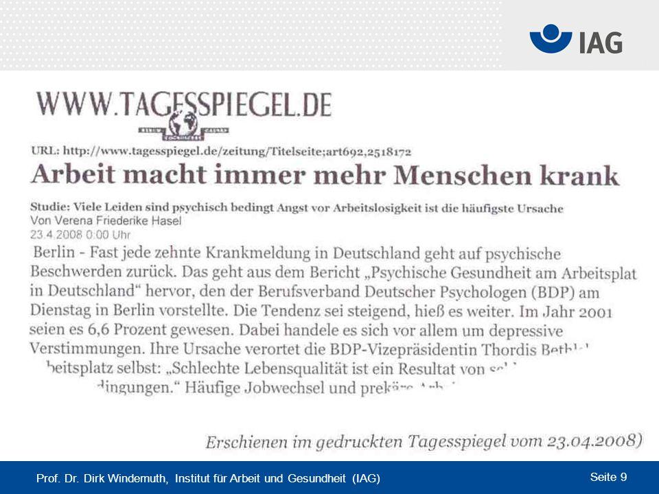 Prof. Dr. Dirk Windemuth, Institut für Arbeit und Gesundheit (IAG) Seite 9