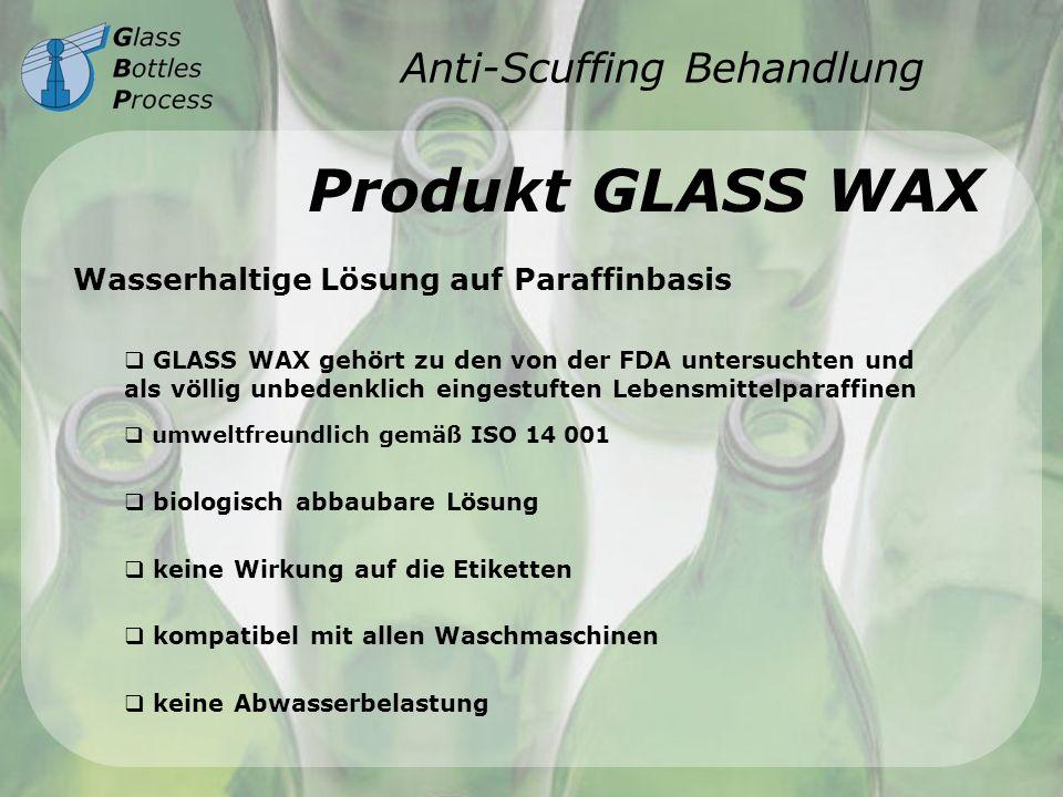 Anti-Scuffing Behandlung Produkt GLASS WAX Wasserhaltige Lösung auf Paraffinbasis GLASS WAX gehört zu den von der FDA untersuchten und als völlig unbe