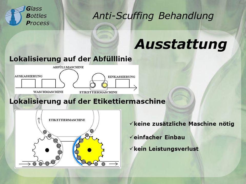 Anti-Scuffing Behandlung Ausstattung Lokalisierung auf der Abfülllinie Lokalisierung auf der Etikettiermaschine einfacher Einbau keine zusätzliche Mas