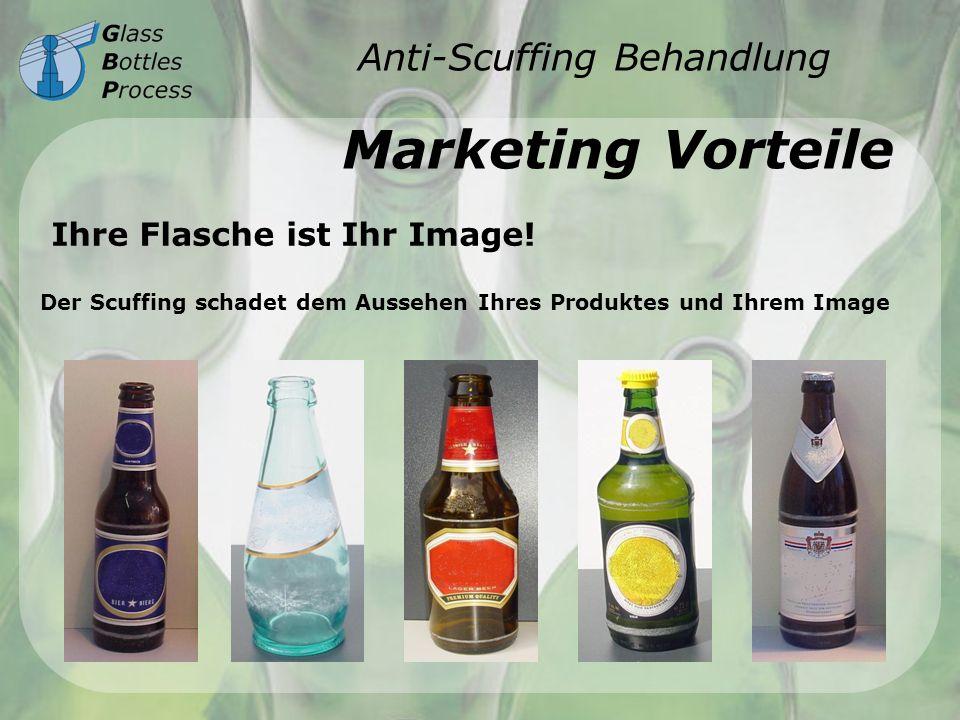 Anti-Scuffing Behandlung Marketing Vorteile Ihre Flasche ist Ihr Image! Der Scuffing schadet dem Aussehen Ihres Produktes und Ihrem Image