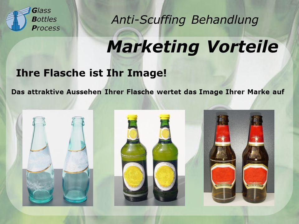 Anti-Scuffing Behandlung Marketing Vorteile Das attraktive Aussehen Ihrer Flasche wertet das Image Ihrer Marke auf Ihre Flasche ist Ihr Image!