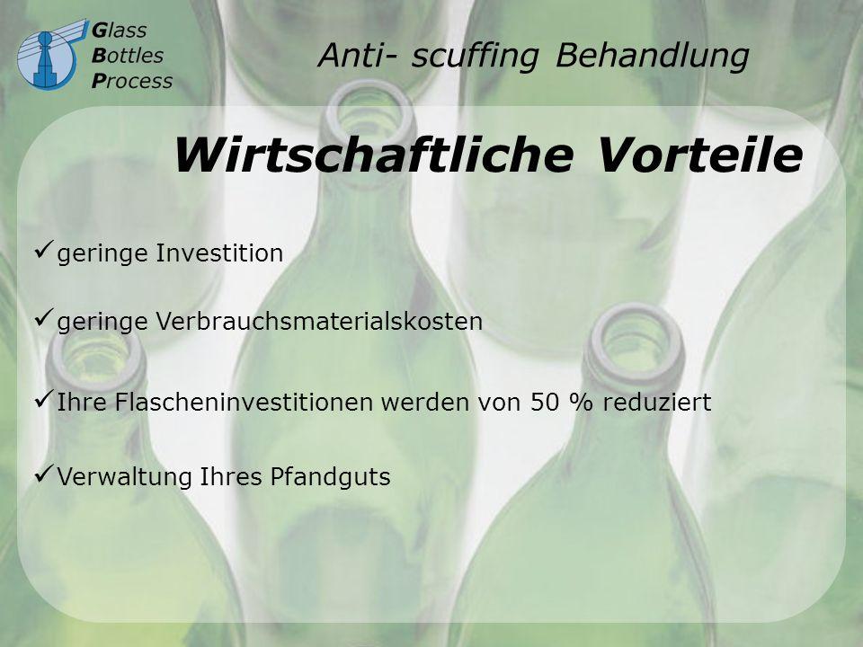 Anti- scuffing Behandlung Wirtschaftliche Vorteile geringe Investition geringe Verbrauchsmaterialskosten Ihre Flascheninvestitionen werden von 50 % re