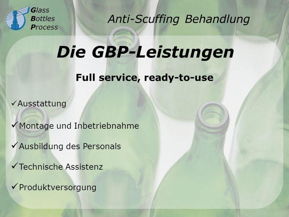 Anti-Scuffing Behandlung Die GBP-Leistungen Ausstattung Montage und Inbetriebnahme Ausbildung des Personals Technische Assistenz Produktversorgung Ful
