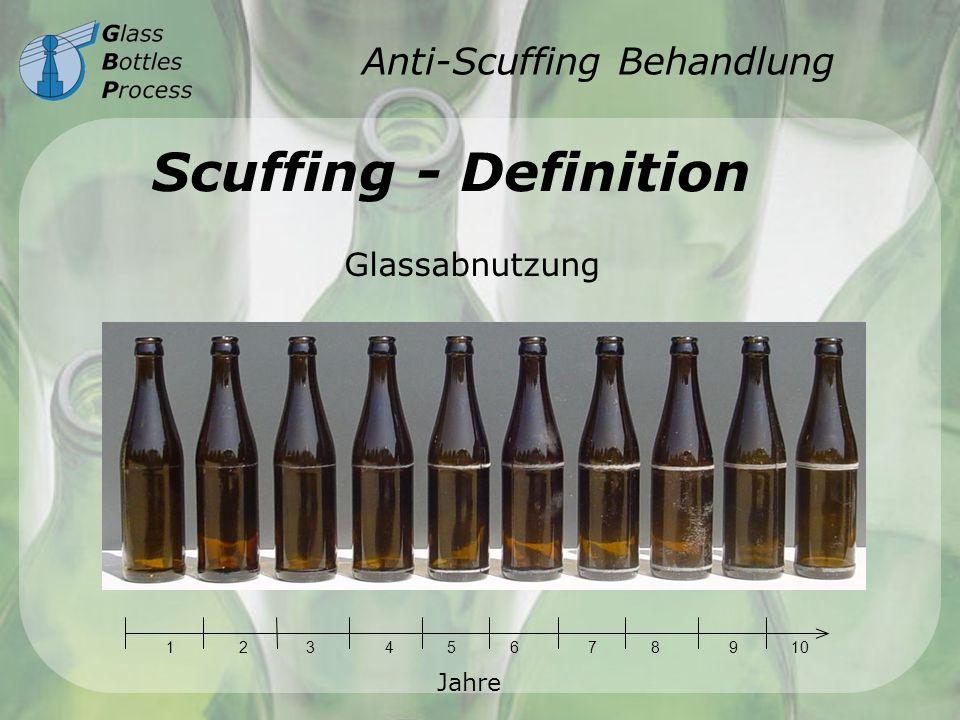 Anti-Scuffing Behandlung Scuffing - Gründe chemischer Scuffing Angriff der chemischen Produkte in der Waschmaschine mechanischer Scuffing Zusammenstöße und Reibungen zwischen den Flaschen