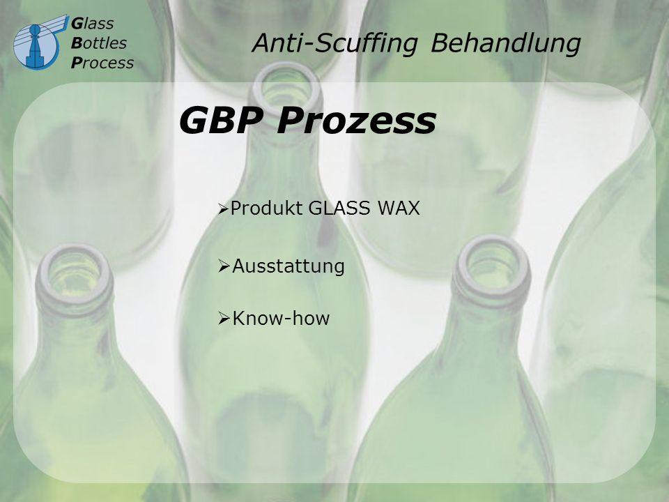 Anti-Scuffing Behandlung GBP Prozess Produkt GLASS WAX Ausstattung Know-how