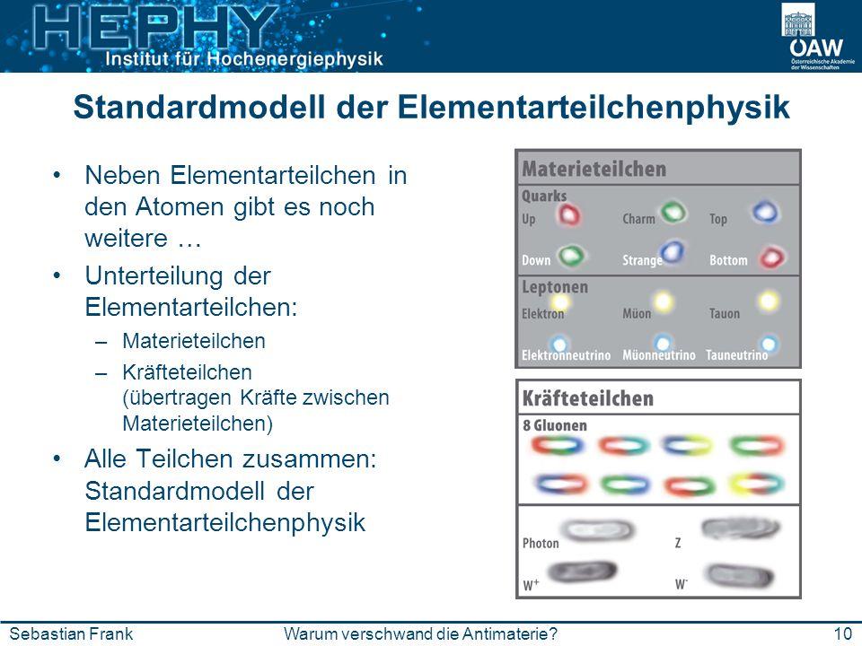 Standardmodell der Elementarteilchenphysik Neben Elementarteilchen in den Atomen gibt es noch weitere … Unterteilung der Elementarteilchen: –Materiete