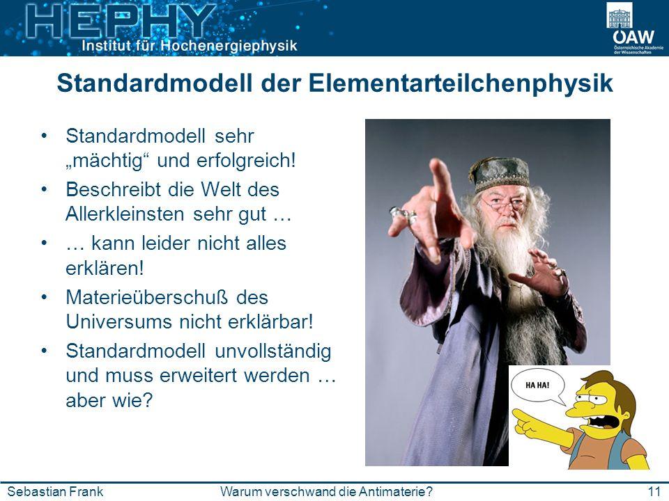 Standardmodell der Elementarteilchenphysik Standardmodell sehr mächtig und erfolgreich! Beschreibt die Welt des Allerkleinsten sehr gut … … kann leide