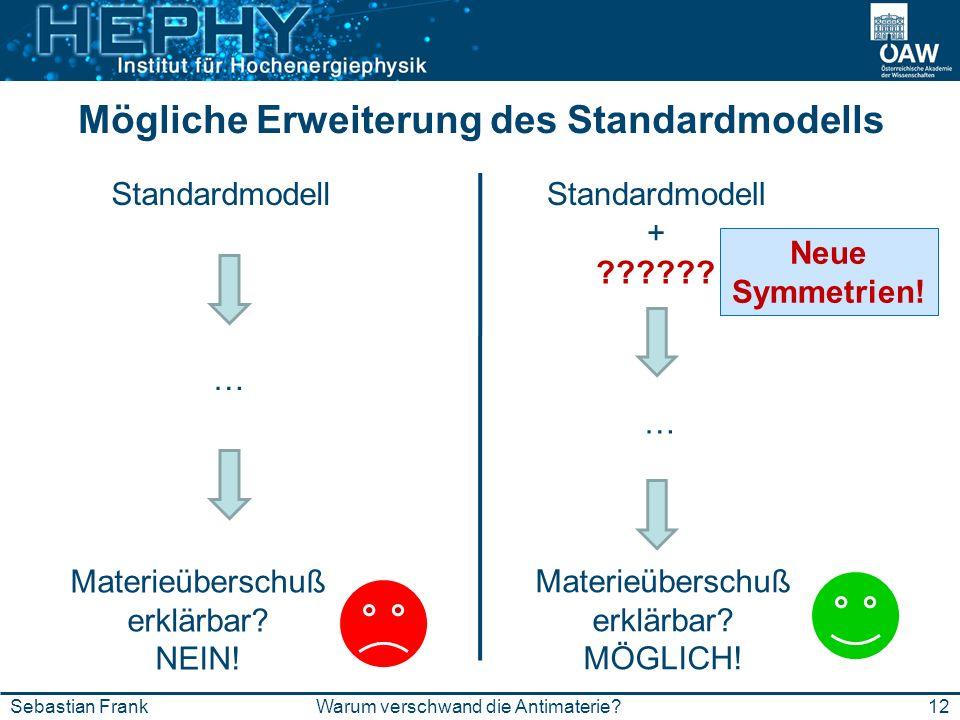 Mögliche Erweiterung des Standardmodells 12Warum verschwand die Antimaterie?Sebastian Frank Standardmodell … Materieüberschuß erklärbar? NEIN! Standar