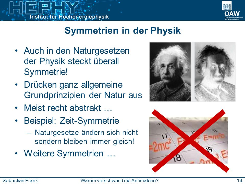 14Warum verschwand die Antimaterie?Sebastian Frank Symmetrien in der Physik Auch in den Naturgesetzen der Physik steckt überall Symmetrie! Drücken gan
