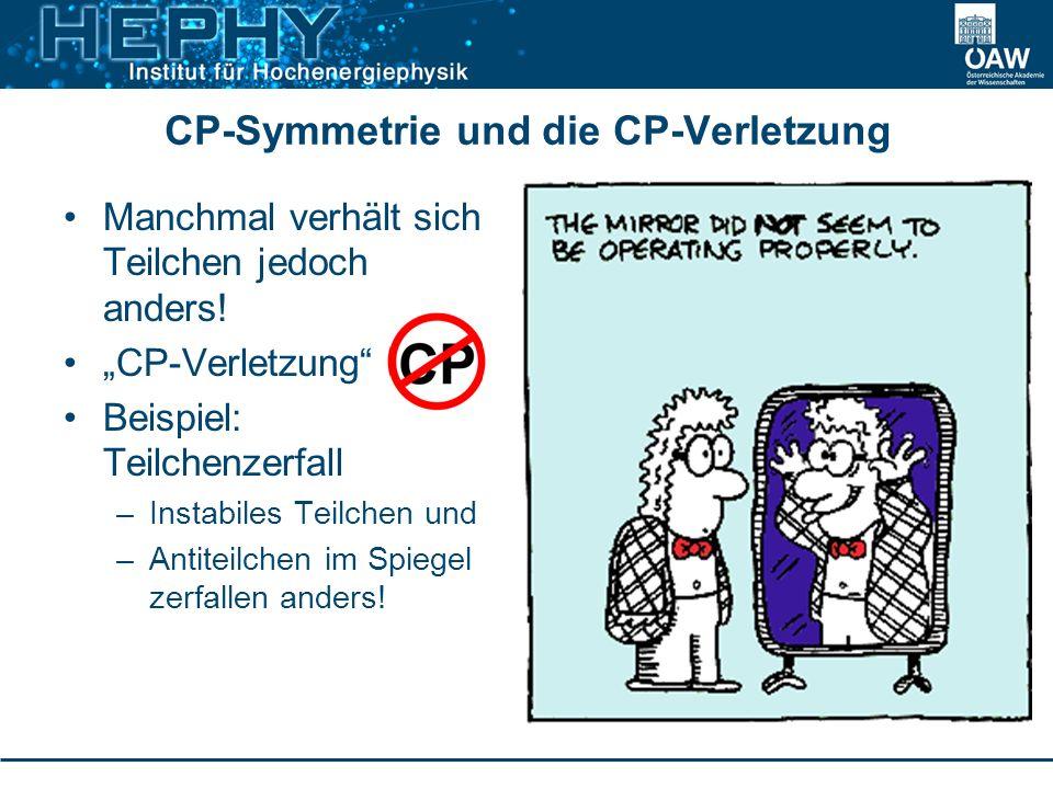 CP-Symmetrie und die CP-Verletzung Manchmal verhält sich Teilchen jedoch anders! CP-Verletzung Beispiel: Teilchenzerfall –Instabiles Teilchen und –Ant