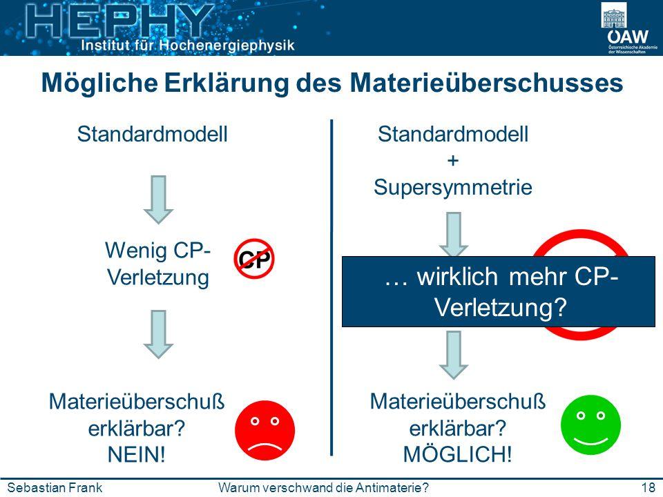 Mögliche Erklärung des Materieüberschusses 18Warum verschwand die Antimaterie?Sebastian Frank Standardmodell Wenig CP- Verletzung Materieüberschuß erk