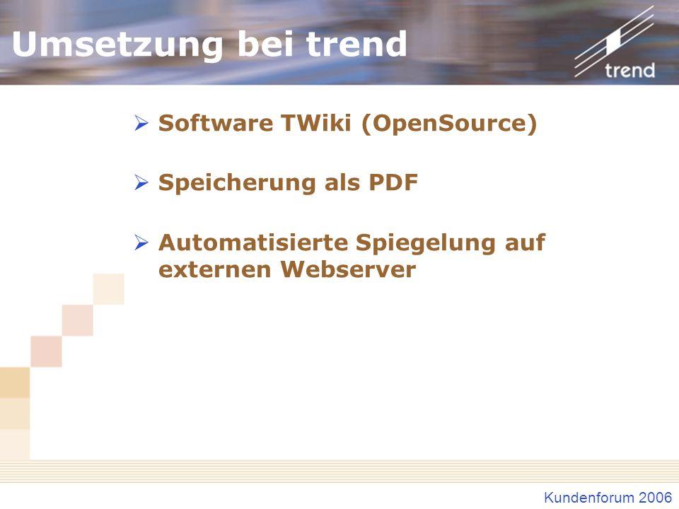 Kundenforum 2006 Umsetzung bei trend Software TWiki (OpenSource) Speicherung als PDF Automatisierte Spiegelung auf externen Webserver