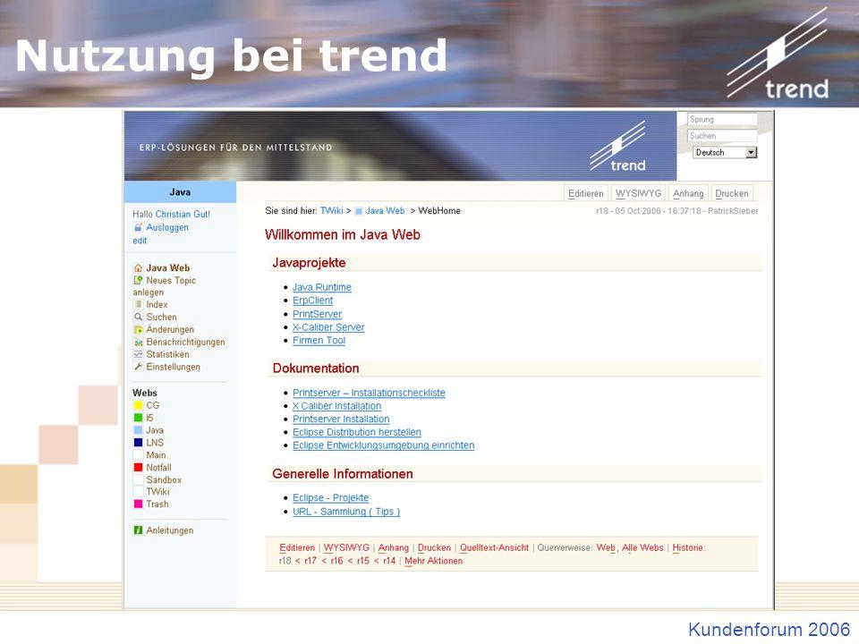 Kundenforum 2006 Nutzung bei trend