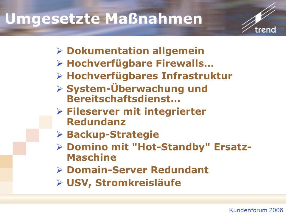 Kundenforum 2006 Umgesetzte Maßnahmen Dokumentation allgemein Hochverfügbare Firewalls… Hochverfügbares Infrastruktur System-Überwachung und Bereitsch