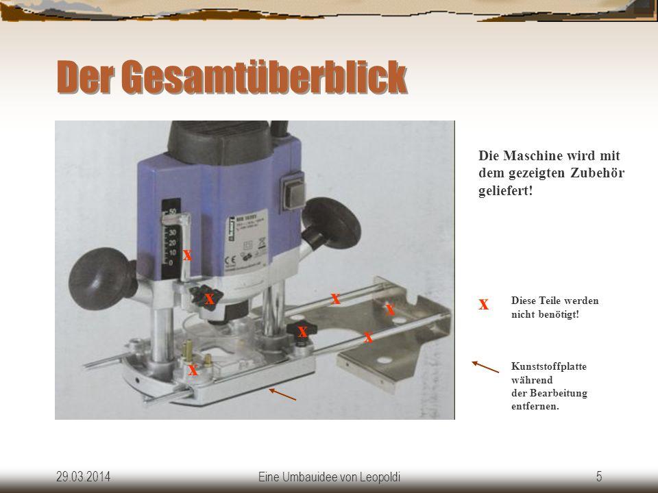 29.03.2014Eine Umbauidee von Leopoldi5 Der Gesamtüberblick x x x x x x x Kunststoffplatte während der Bearbeitung entfernen.