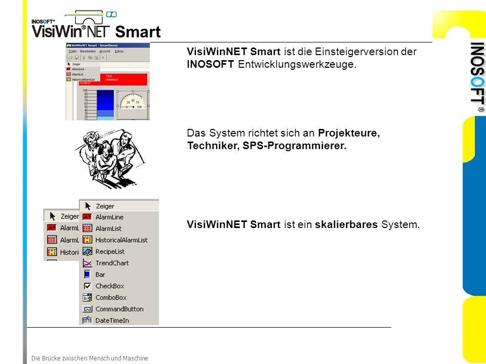 Die Brücke zwischen Mensch und Maschine Smart VisiWinNET Smart ist die Einsteigerversion der INOSOFT Entwicklungswerkzeuge. Das System richtet sich an