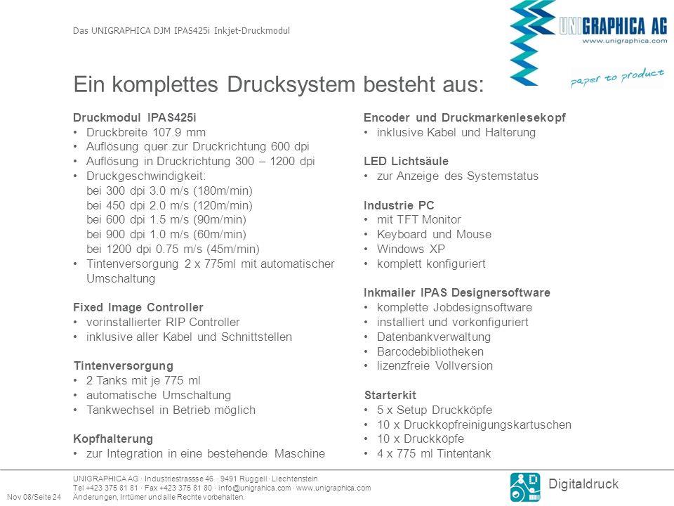 UNIGRAPHICA AG · Industriestrassse 46 · 9491 Ruggell · Liechtenstein Tel +423 375 81 81 · Fax +423 375 81 80 · info@unigrahica.com · www.unigraphica.com Nov 08/Seite 24Änderungen, Irrtümer und alle Rechte vorbehalten.