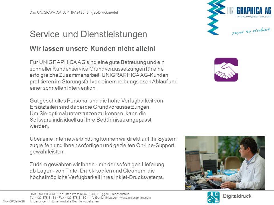 UNIGRAPHICA AG · Industriestrassse 46 · 9491 Ruggell · Liechtenstein Tel +423 375 81 81 · Fax +423 375 81 80 · info@unigrahica.com · www.unigraphica.com Nov 08/Seite 25Änderungen, Irrtümer und alle Rechte vorbehalten.