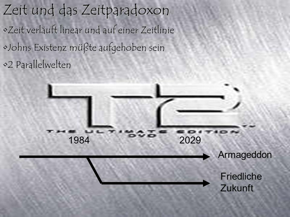 Zeit und das Zeitparadoxon Zeit verläuft linear und auf einer Zeitlinie Johns Existenz müßte aufgehoben sein 2 Parallelwelten 19842029 Armageddon Friedliche Zukunft