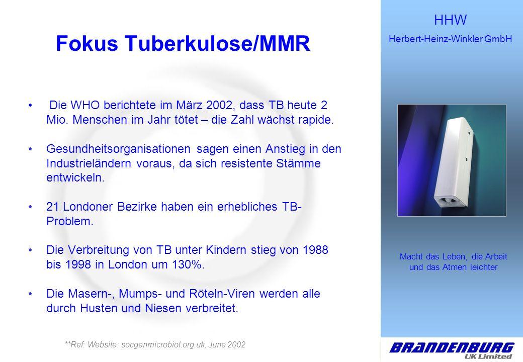 HHW Herbert-Heinz-Winkler GmbH Macht das Leben, die Arbeit und das Atmen leichter Fokus Tuberkulose/MMR Die WHO berichtete im März 2002, dass TB heute