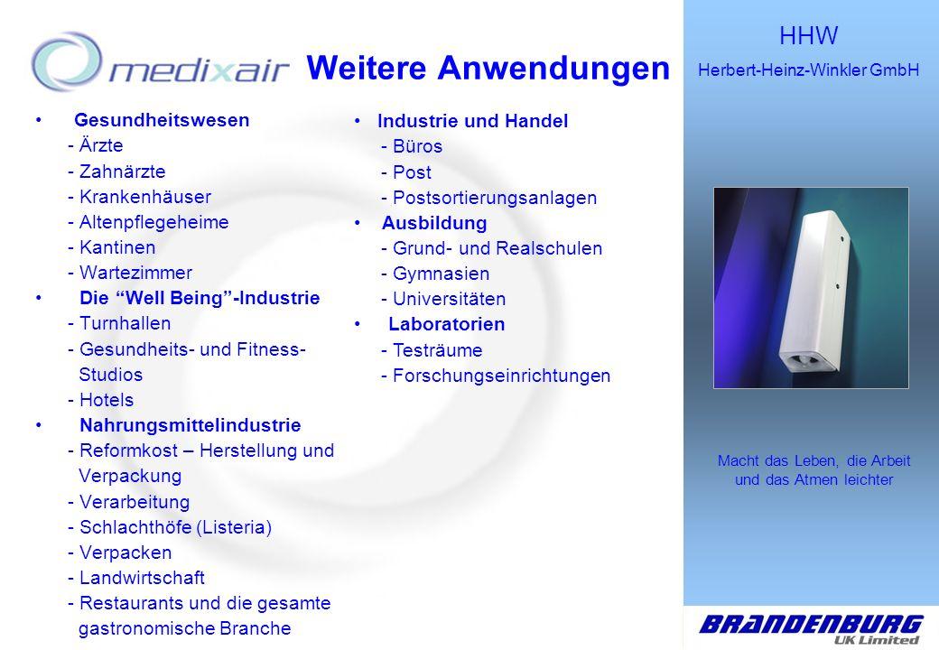 HHW Herbert-Heinz-Winkler GmbH Macht das Leben, die Arbeit und das Atmen leichter Weitere Anwendungen Gesundheitswesen - Ärzte - Zahnärzte - Krankenhä