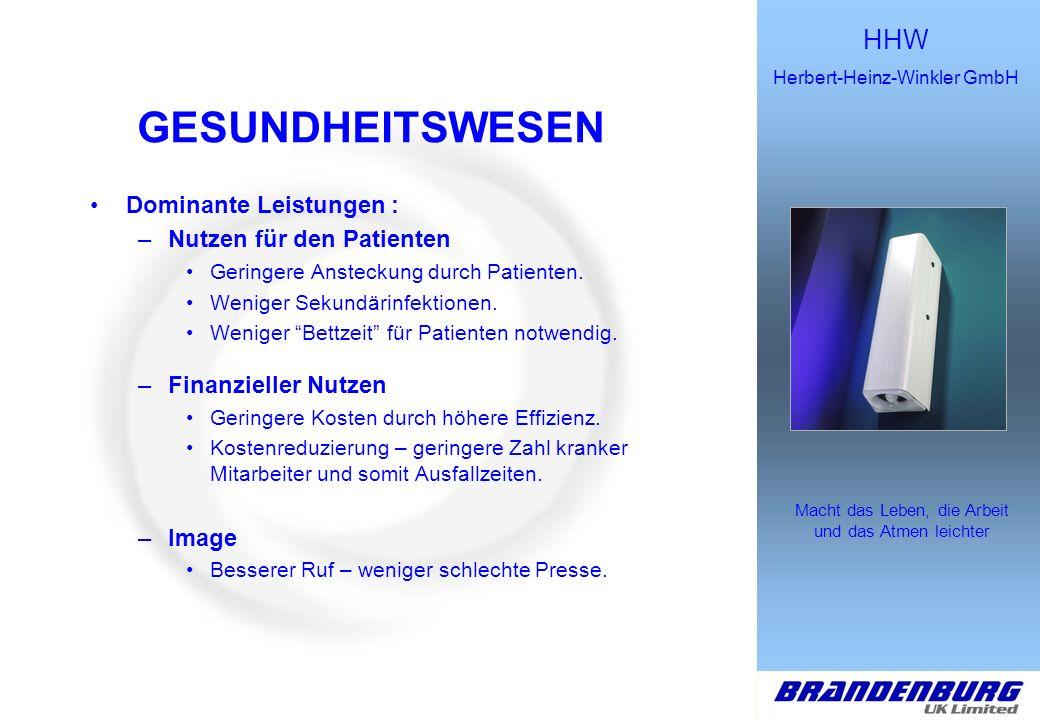 HHW Herbert-Heinz-Winkler GmbH Macht das Leben, die Arbeit und das Atmen leichter GESUNDHEITSWESEN Dominante Leistungen : –Nutzen für den Patienten Ge