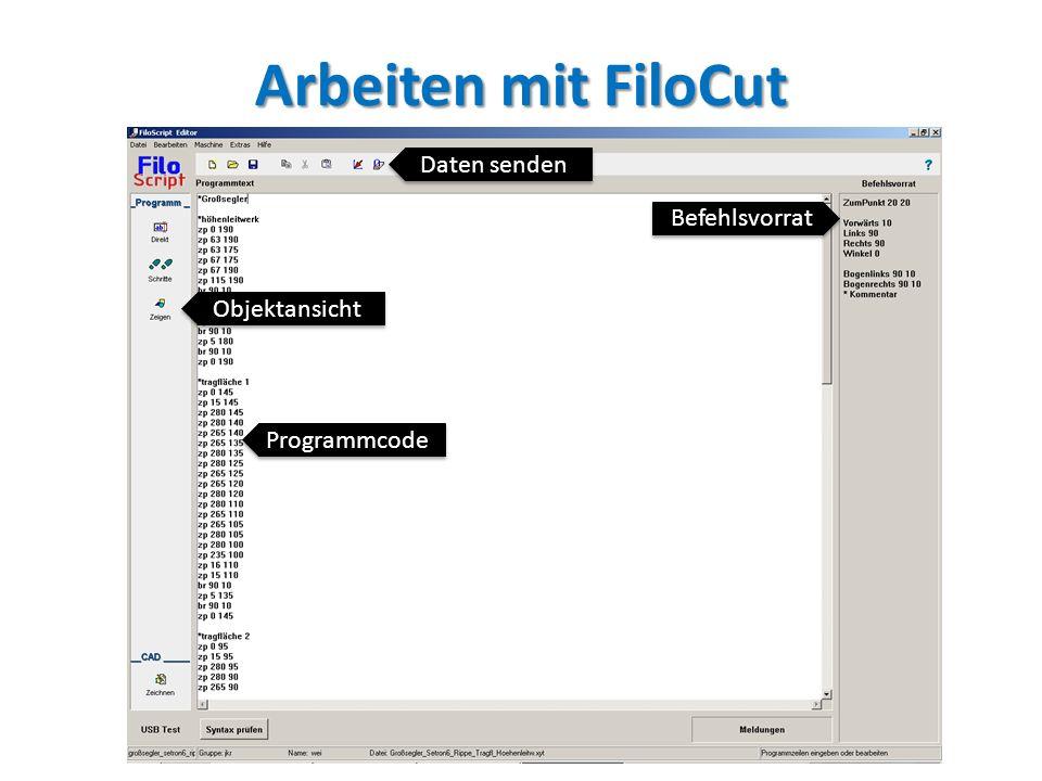 Befehlsvorrat Objektansicht Daten senden Programmcode
