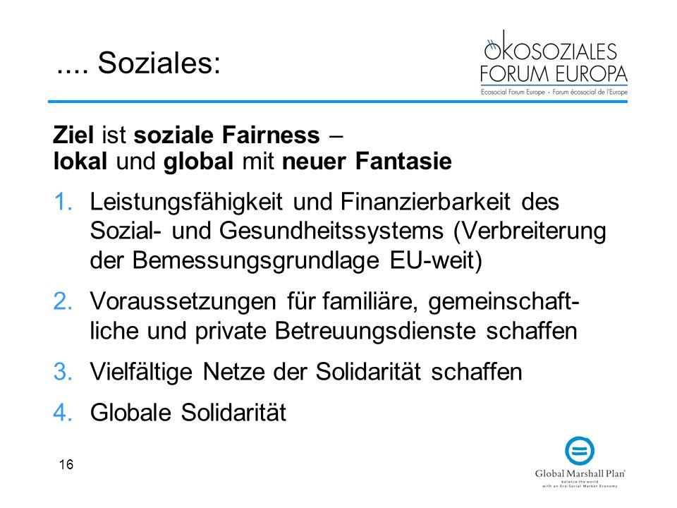16.... Soziales: 1.Leistungsfähigkeit und Finanzierbarkeit des Sozial- und Gesundheitssystems (Verbreiterung der Bemessungsgrundlage EU-weit) 2.Voraus