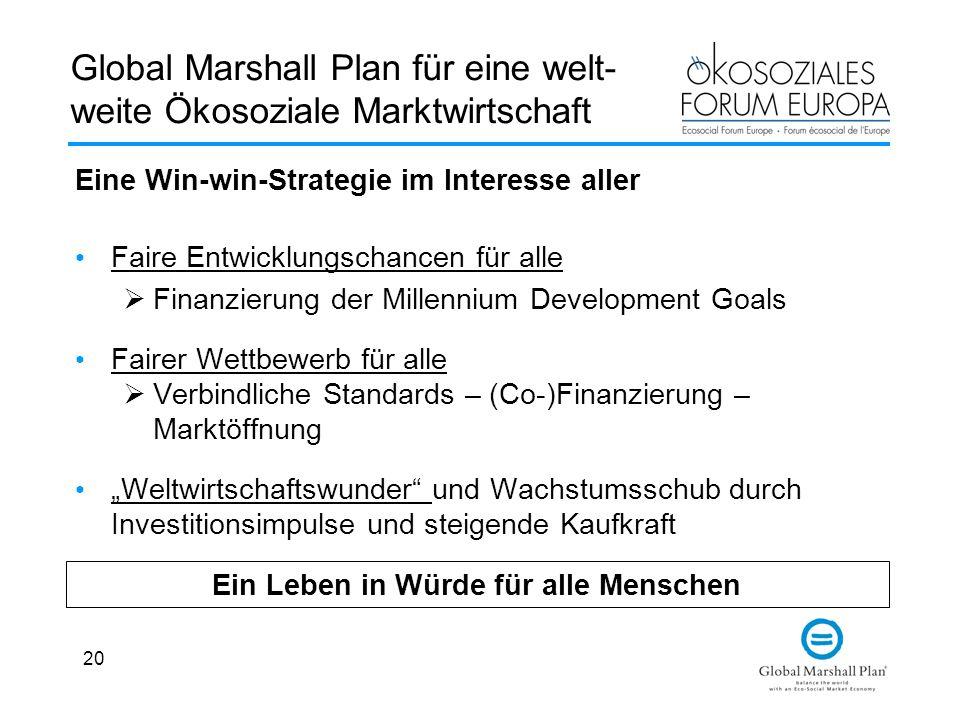 20 Global Marshall Plan für eine welt- weite Ökosoziale Marktwirtschaft Eine Win-win-Strategie im Interesse aller Faire Entwicklungschancen für alle F