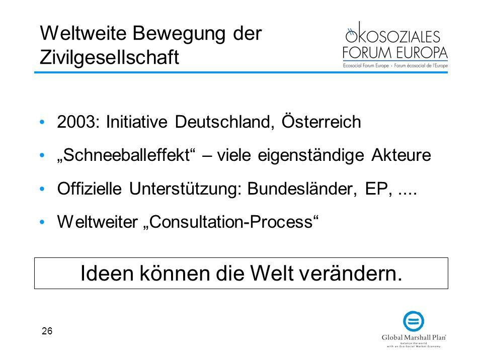 26 Weltweite Bewegung der Zivilgesellschaft 2003: Initiative Deutschland, Österreich Schneeballeffekt – viele eigenständige Akteure Offizielle Unterst