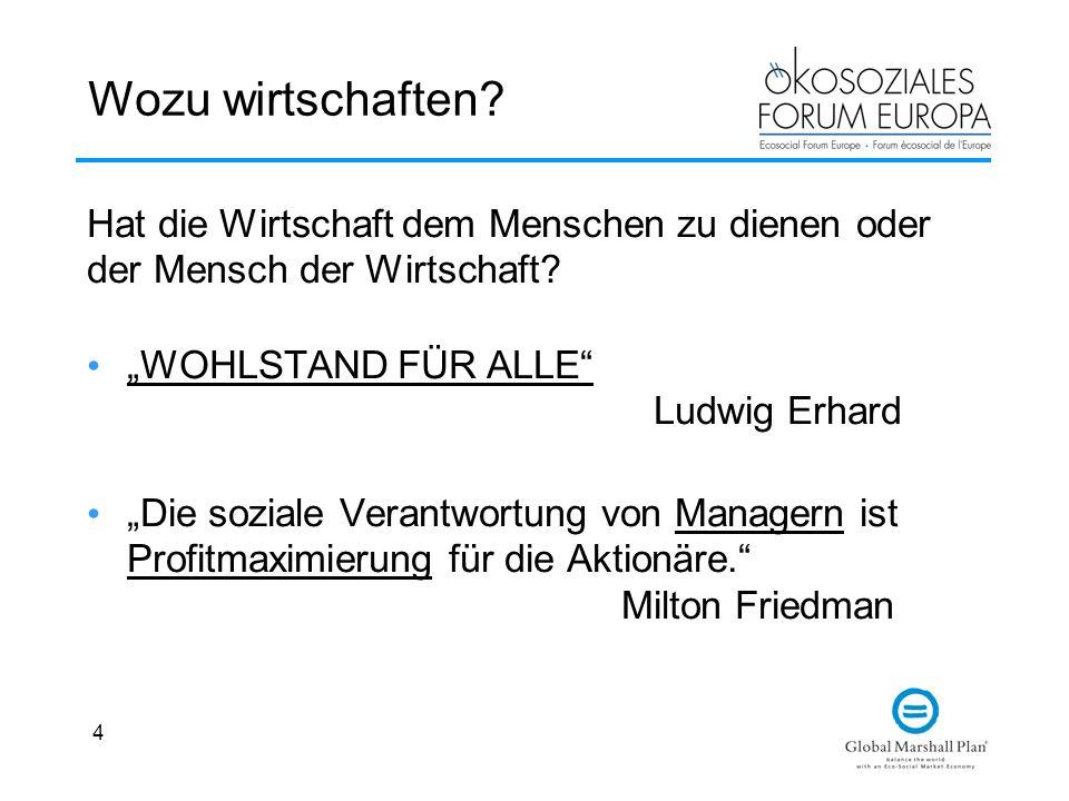 4 Wozu wirtschaften? WOHLSTAND FÜR ALLE Ludwig Erhard Die soziale Verantwortung von Managern ist Profitmaximierung für die Aktionäre. Milton Friedman