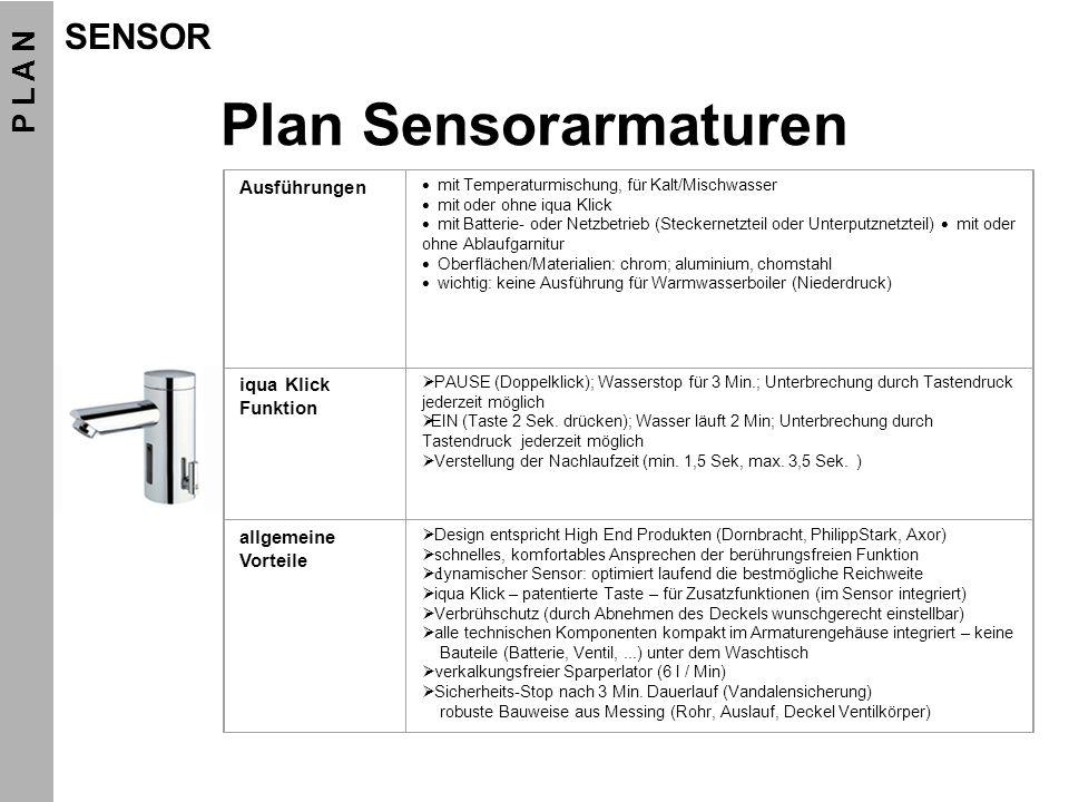 Plan Sensorarmaturen Ausführungen mit Temperaturmischung, für Kalt/Mischwasser mit oder ohne iqua Klick mit Batterie- oder Netzbetrieb (Steckernetztei