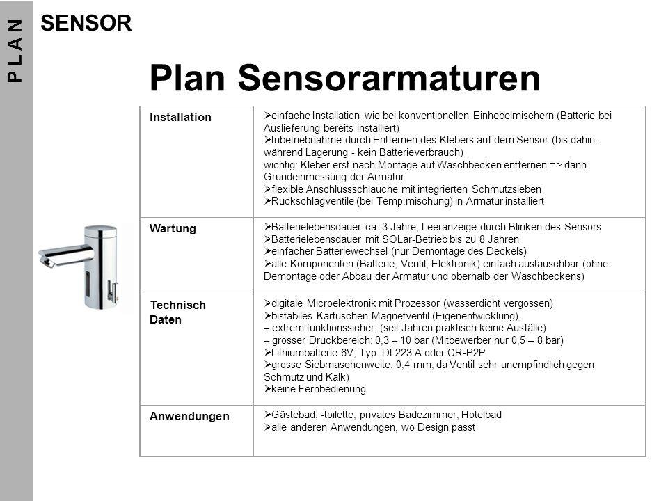 Plan Sensorarmaturen Installation einfache Installation wie bei konventionellen Einhebelmischern (Batterie bei Auslieferung bereits installiert) Inbet